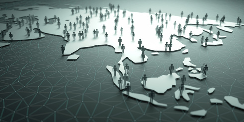 3D illustration of people on the map, representing the country's demography.